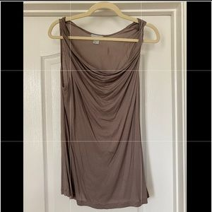 Taupe colored cowl neck tank